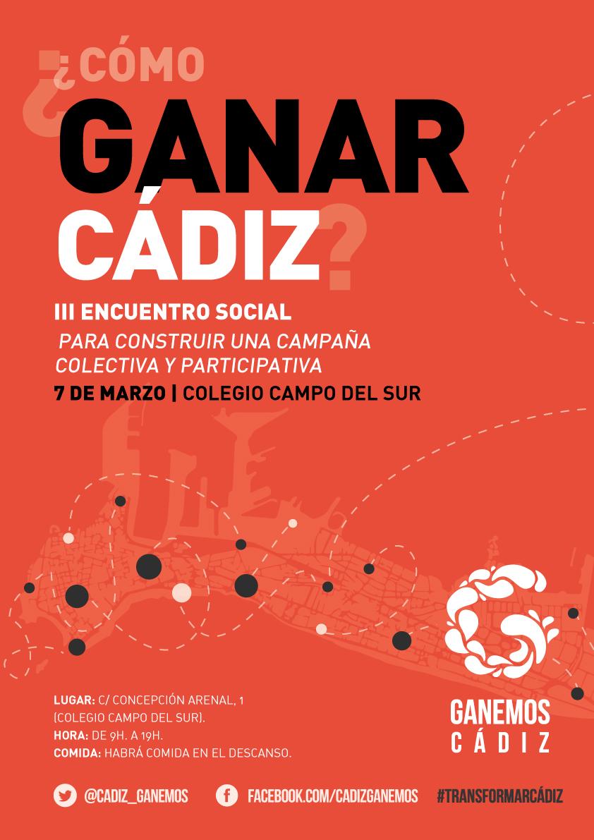 Ganemos Cádiz invita a participar en su III Encuentro Social a personas y colectivos  que quieran transformar Cádiz