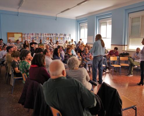 Imagen de la asamblea conjunta celebrada por Ganar Cádiz y Sí Se Puede Cádiz en abril