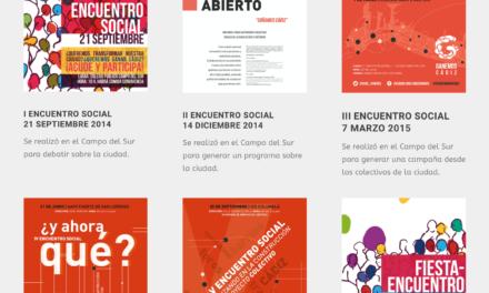 Carteles de los encuentros sociales realizados por Ganar Cádiz en común desde 2014